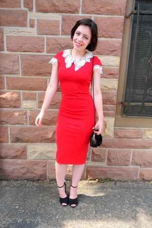 red bodycon Lydia Bright dress - black studded Zara heels