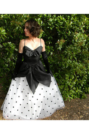 white polka dot dress - black opera gloves