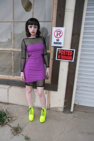 chartreuse neon Ego and Greed wedges - amethyst mesh asos dress