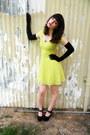 Lime-green-lace-h-m-dress-black-gloves-black-heels