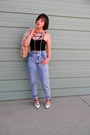 Black-crop-solemio-top-light-blue-acid-wash-thrifted-jeans