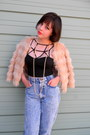 Light-blue-acid-wash-thrifted-jeans-light-pink-faux-fur-target-jacket