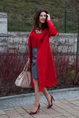 ruby red Sheinside coat - heather gray PNFashionpl skirt
