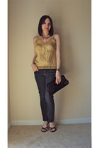 gold gianni bini shirt - Charles David bag