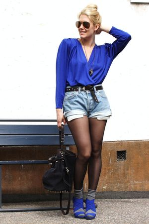 blue Zara shoes - gray Alexander Wang accessories - blue vintage blouse