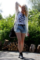 white vintage cardigan - gray Alexander Wang purse - white Nudie shirt - blue Le