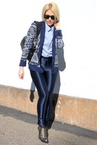 navy paisley Zara blazer - heather gray Christian Louboutin boots