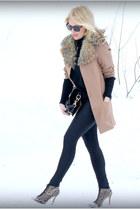 tan H&M coat - black Givenchy bag - heather gray Zara heels