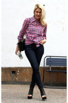 pink vintage shirt - black tony bianco shoes - Chanel purse - blue Lee jeans - b