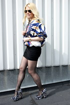 navy Miu Miu heels - red silk vintage jacket - black stylestalker skirt