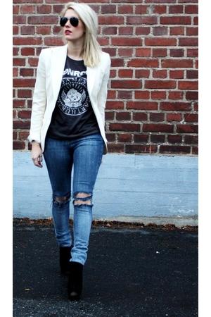 white Dolce & Gabbana blazer - black Topshop boots - Crocker  diy jeans