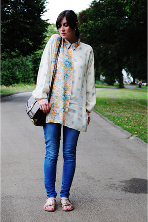 light blue blouse - blue jeans - dark brown bag