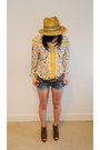 Yellow-vintage-blouse-blue-topshop-shorts-tawny-top-wedges