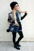 navy desigual jacket - navy desigual bag - black The Barown skirt