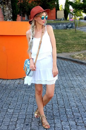 white Boohoo dress - dark brown Primark hat - teal Parfois bag