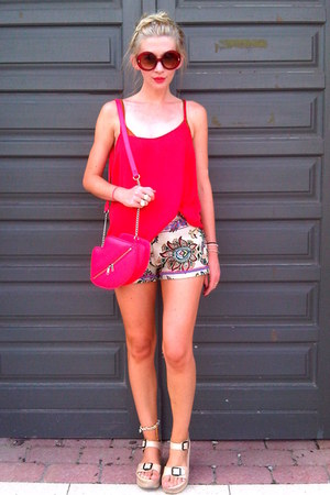 red H&M bag - cream Lefties shorts - red new look top