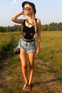 Black-second-hand-hat-black-parfois-bag-navy-diy-shorts