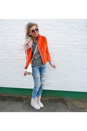 navy Zara jeans - carrot orange Mohito jacket - white Primark bag
