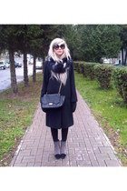 black Bershka scarf - navy French Connection coat - black Primark bag