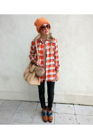 carrot orange Primark shirt - camel TK Maxx bag - black H&M pants