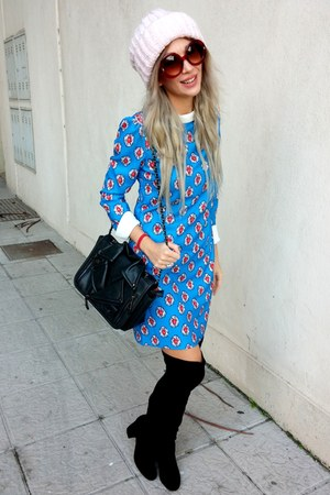 black Primark boots - turquoise blue Mia Donna dress