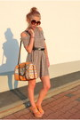 Light-brown-second-hand-dress-carrot-orange-parfois-bag