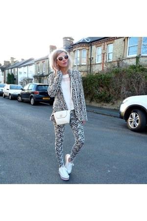 white Primark bag - white glamroompl blouse - white Converse sneakers