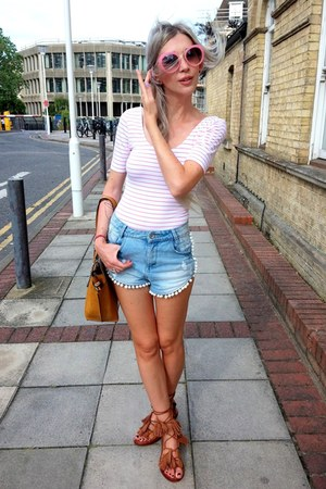 bronze Parfois bag - blue Primark shorts - brown Zara sandals