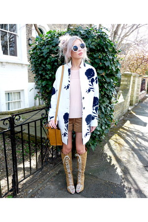 white Primark coat - camel Parfois bag - camel H&M shorts