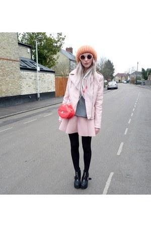 light pink Primark jacket - red H&M bag - light pink glamroompl skirt