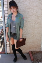 heather gray Express top - army green buttond down Khols shirt