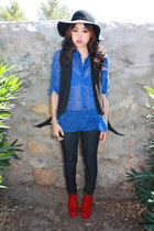 ruby red Gapo Jane boots - black knit DECODED vest - blue sheer Express blouse