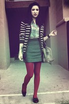 navy Forever 21 cardigan - teal Forever 21 blouse - blue Express skirt - ruby re