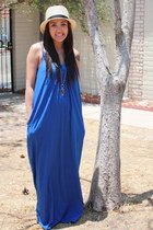 blue maxi dress Zara dress - cream fedora Express hat - silver Fossil necklace