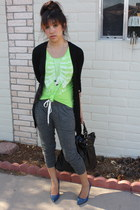 heather gray harem pants Express pants - chartreuse tank top Hot Topic shirt