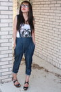 Blue-overalls-forever-21-jumper-white-tank-top-hot-topic-top-brown-agaci-wed