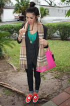 red tennis Vans shoes - tan Burberry scarf - hot pink hello kitty purse