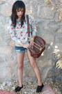 Brown-vintage-bag-blue-hot-topic-shorts-heather-gray-forever-21-sweatshirt-