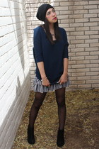 4fa97fb3 black Chinese Laundry boots - teal Express sweater - black Hot Topic skirt