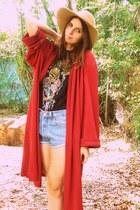 camel wide brimmed Playground Love Vintage hat - brick red oversize Playground L