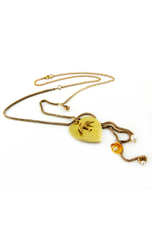 gold poison apple NYC necklace