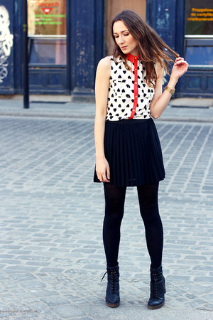red Primark blouse - black new look skirt