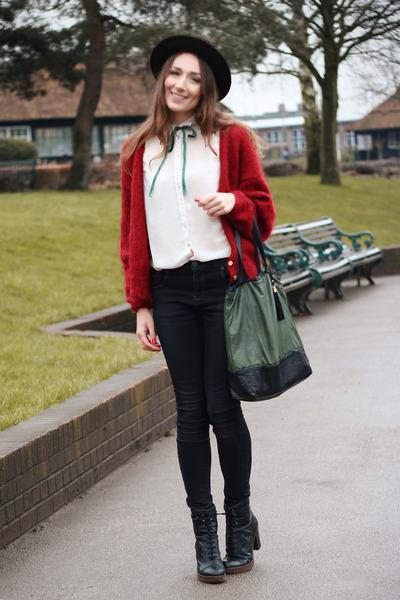 vintage hat - Primark shirt - Topshop bag - Topshop pants - vintage cardigan