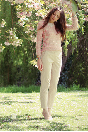 light pink lace collar Topshop jumper - eggshell Primark pants