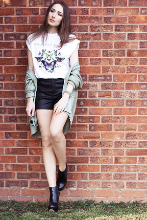 Topshop top - leather Topshop shorts - mint primar cardigan - Topshop heels