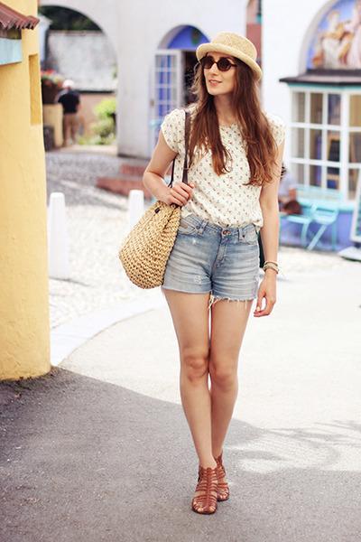 vintage shorts - Topshop hat - vintage flowers vintage blouse
