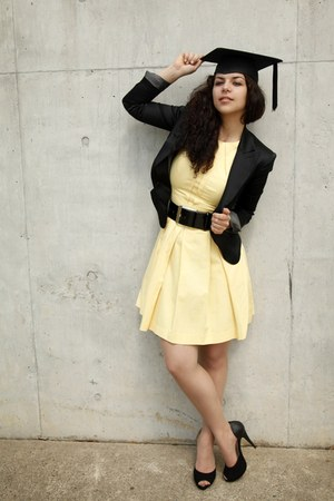 black satin Cue blazer - light yellow cotton Cue dress