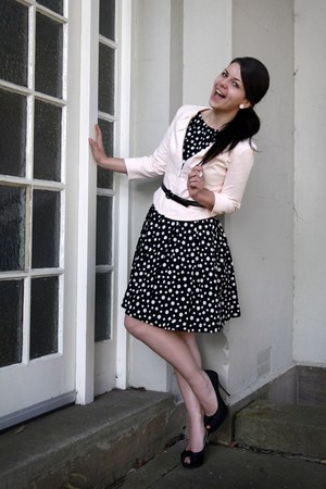 black polka dot Cue dress - light pink soft Cue jacket