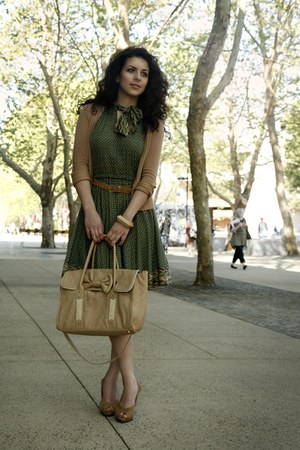 army green Mango dress - camel Forever New bag - camel Forever New belt