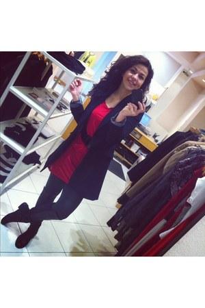 black Cue blazer - black leather tony bianco boots - red max&co dress